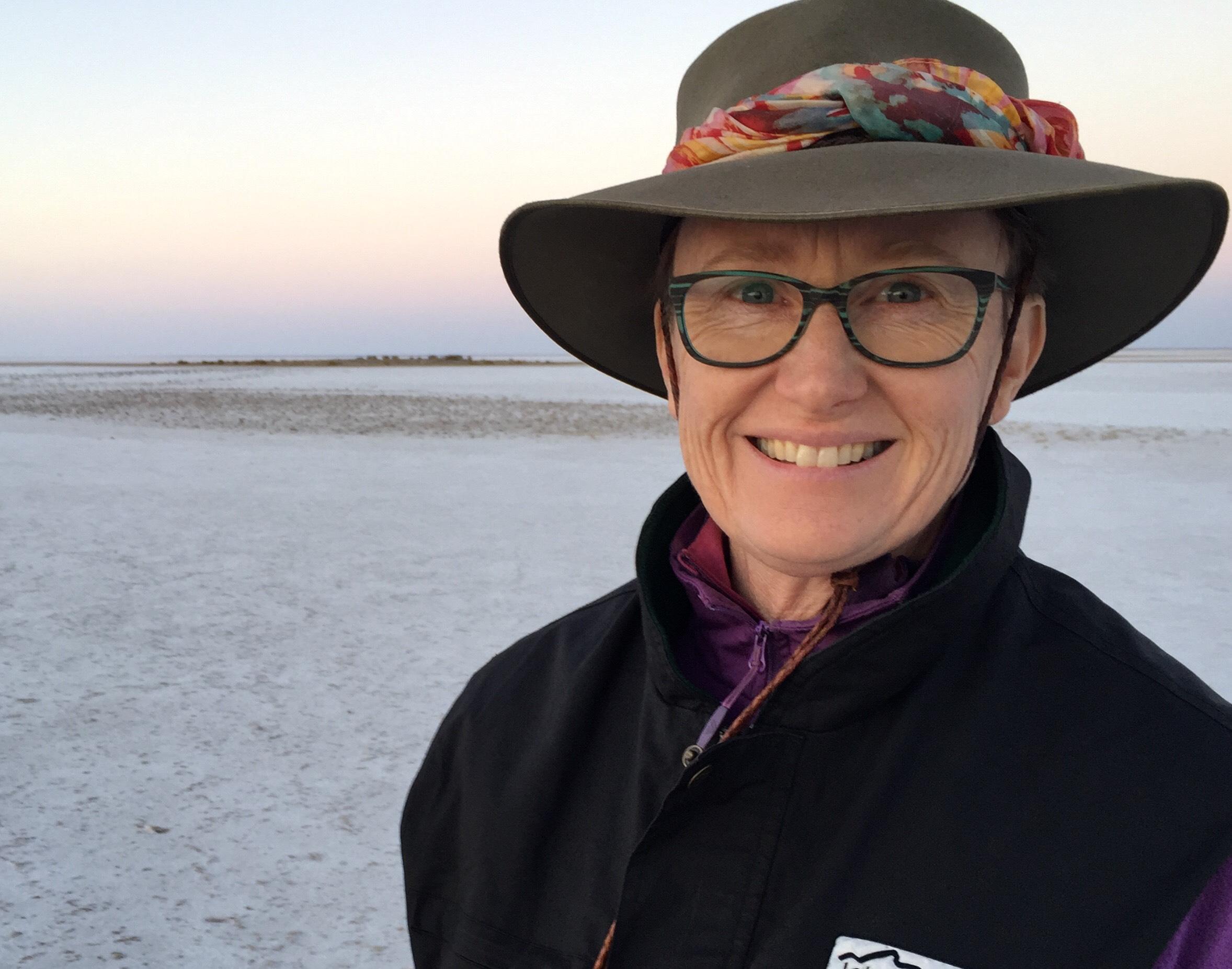 Liza Dale-Hallett at Lake Eyre, 2017, Image Supplied, Liza Dale-Hallett