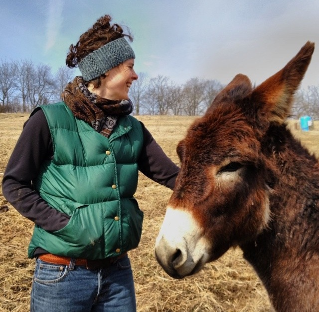 Jaclyn on a farm with a donkey named Zorro, Wisconsin, 2016, image supplied.
