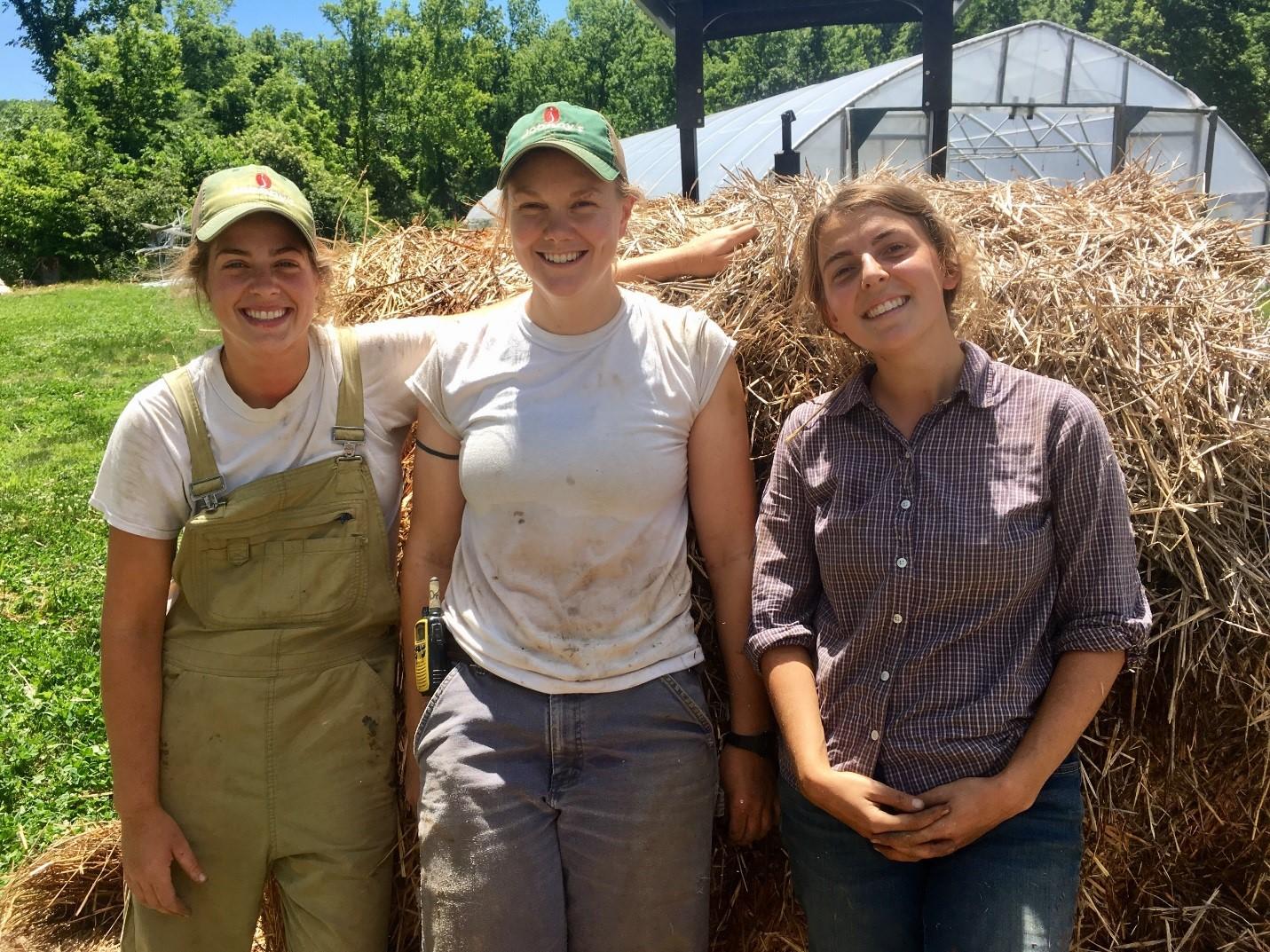 Lauren, Amanda and Kerry on Liz's farm.