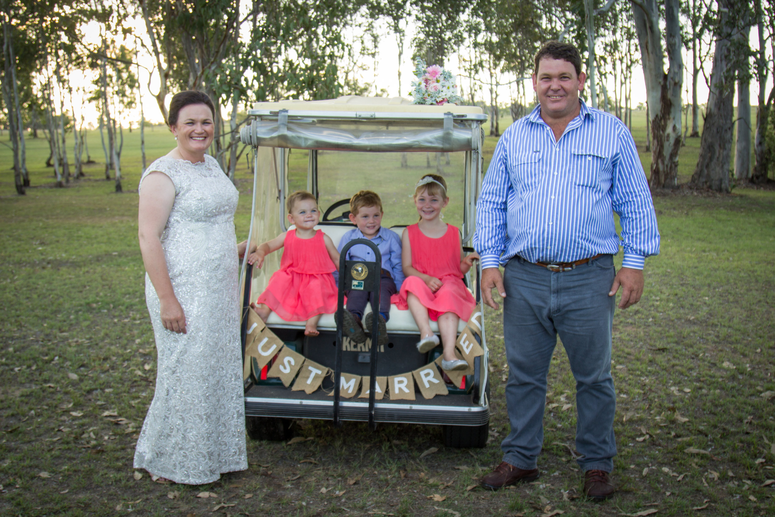 Lisa, Cameron and their children Jessie Jane, Buckley and Bonnie married in 2016 at Boondooma Homestead, image supplied, photographer:Lynette Vicary.