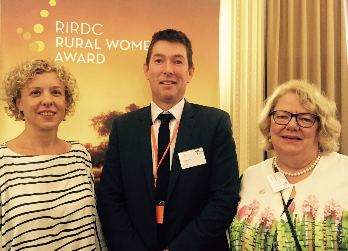 Kirsten at the RIRDC Rural Women of the Year awards with Westpac sponsor Roddy Brown and rural women's advocate Alana Johnson, image courtesy Alana Johnson, Twitter (@alanatjohnson)