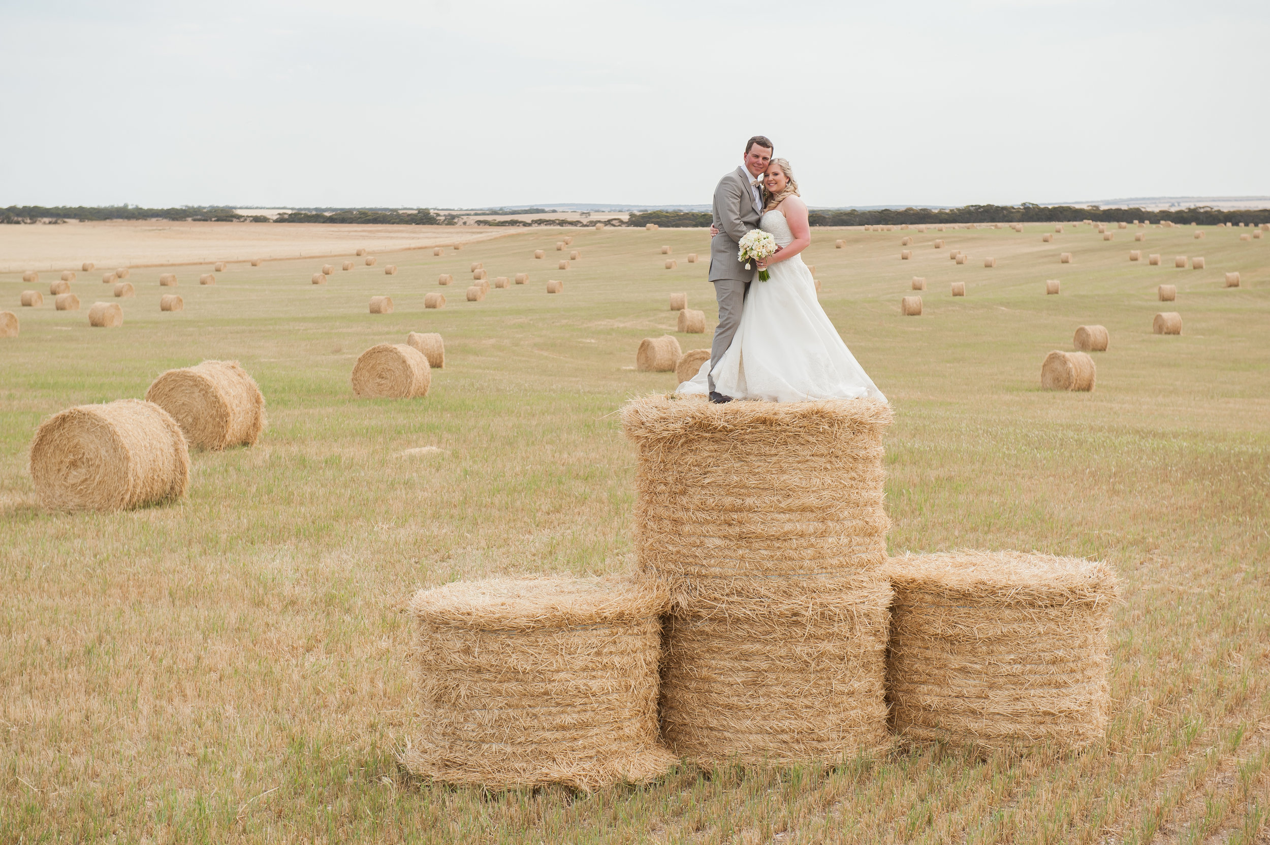 Emily and Trent Mueller on their wedding day, Murray Bridge, South Australia, photographer: Deb Saunders Photography, Source: supplied, Emily Mueller.