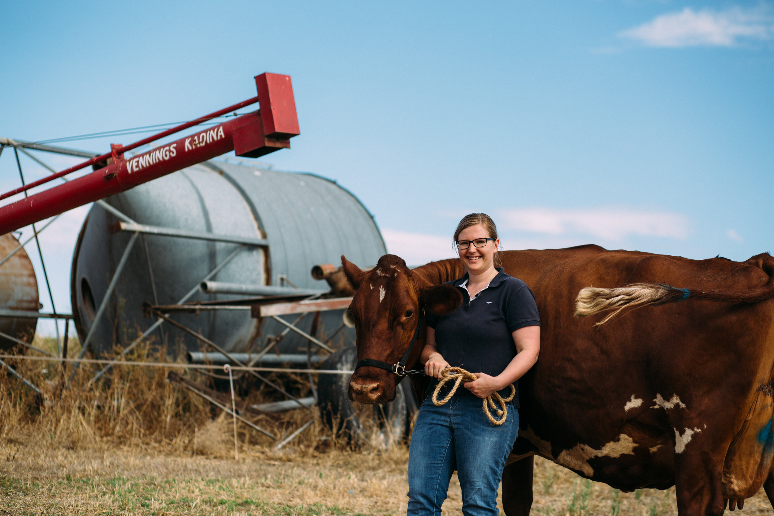 Emily with her favourite cow, Begonia, photographed by Catherine Forge, Murray Bridge, Source: Museums Victoria:  https://collections.museumvictoria.com.au/items/2243773