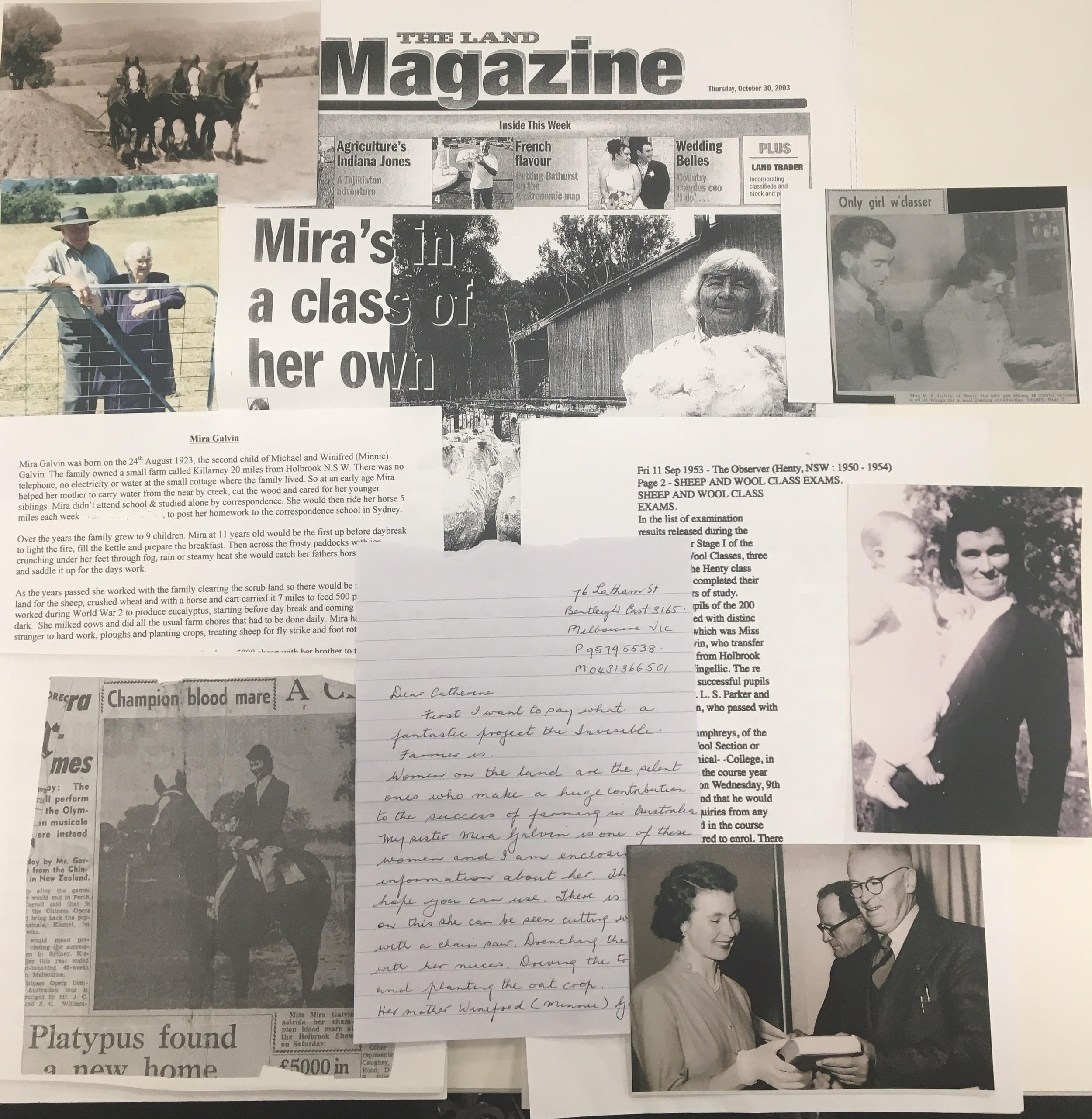 An array of photographs and newspaper clippings that were sent into Melbourne Museum by Aileen Spangaro