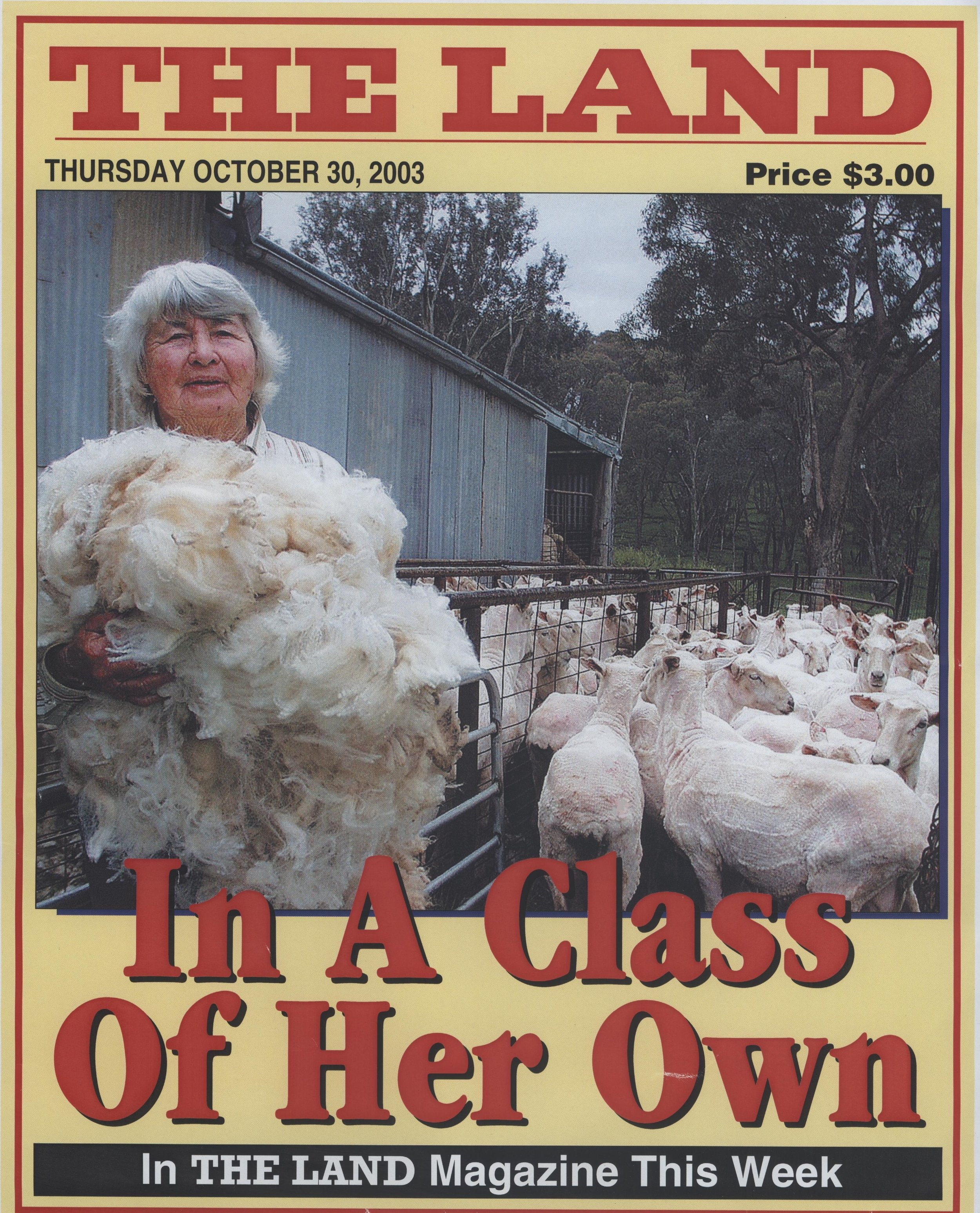 "Mira Galvin, ""In a Class of Her Own"", The Land, October 2003. Photo: supplied by Aileen Spangaro."