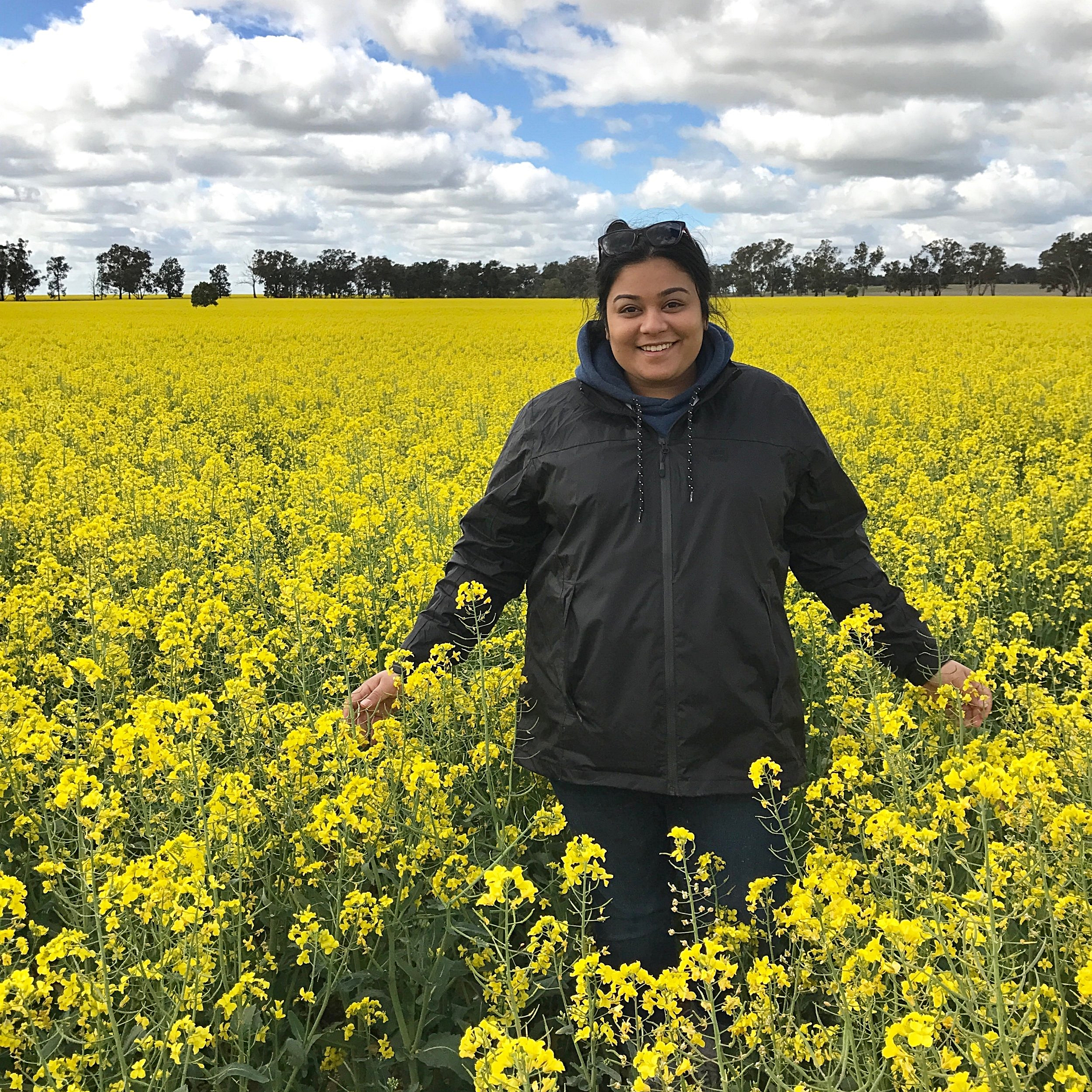 Rayali Banerjee on a farm in Temora, New South Wales.