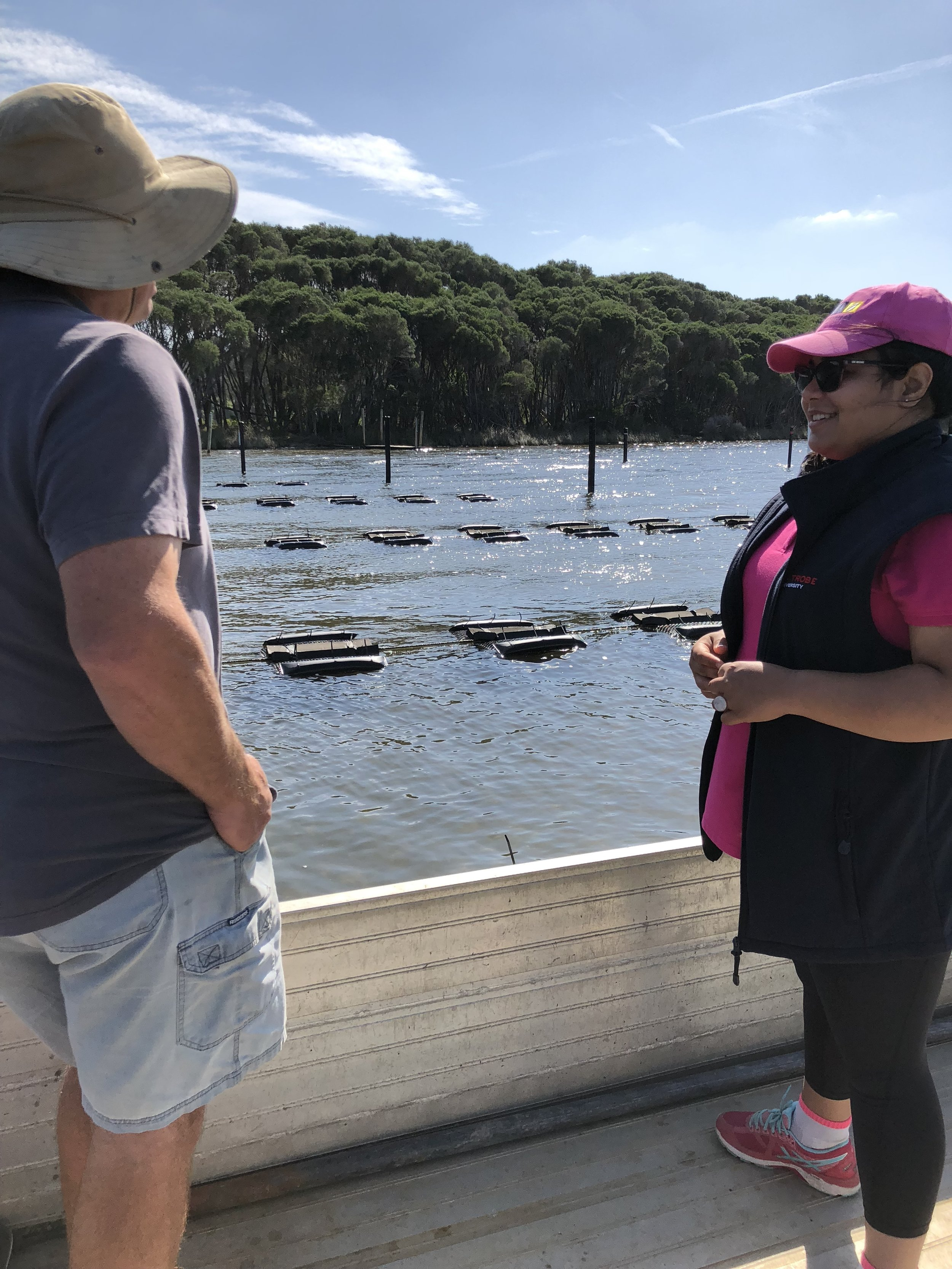 Rayali gaining work experience on an oyster farm in Wonboyn, New South Wales.