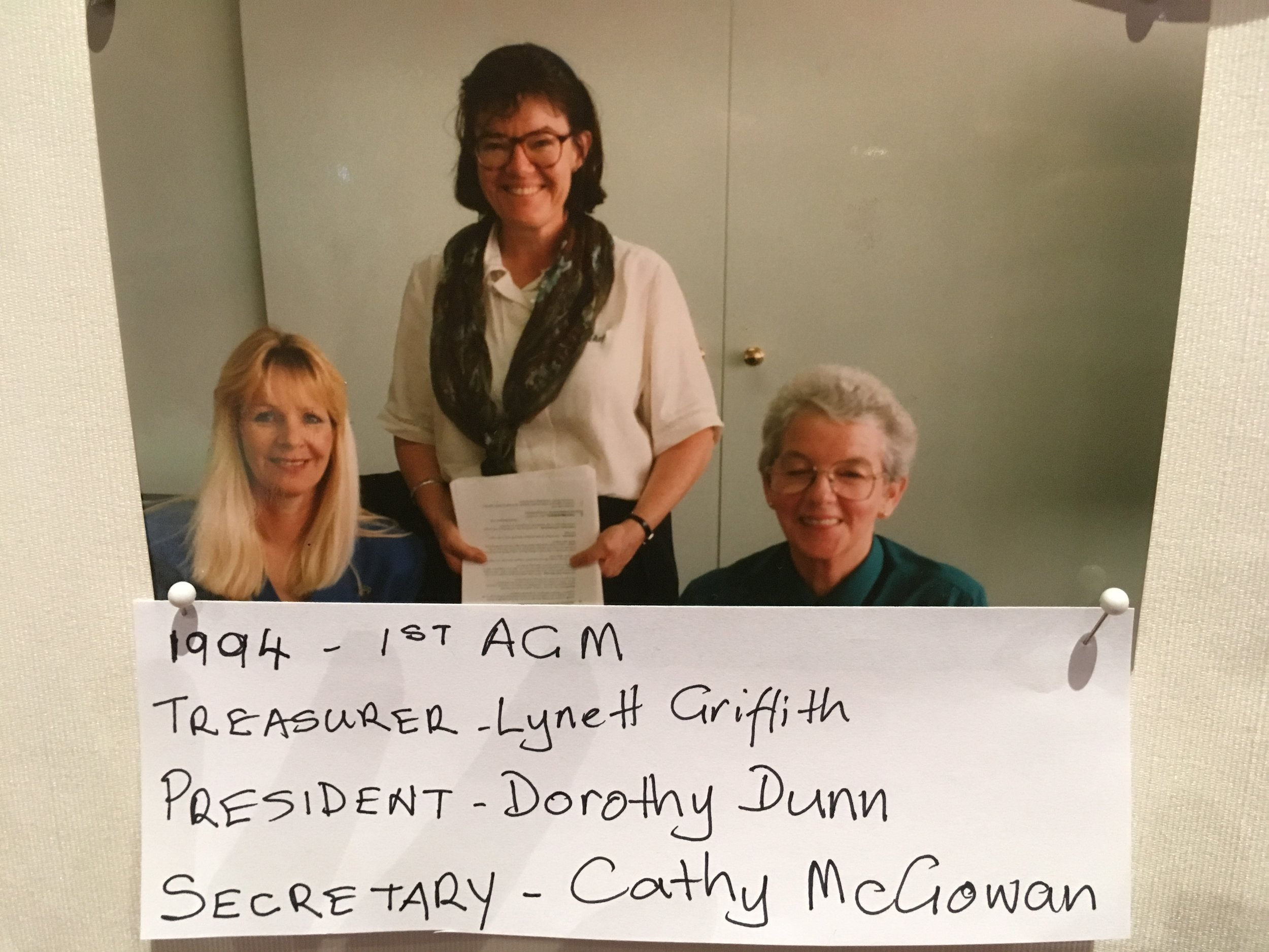 A photo depicting founding AWiA members Lynett Griffith, Dorothy Dunn and Cathy McGowan in 1994. Photo: this photo was displayed in the conference foyer during the AWiA conference weekend, 17-19 August 2018.