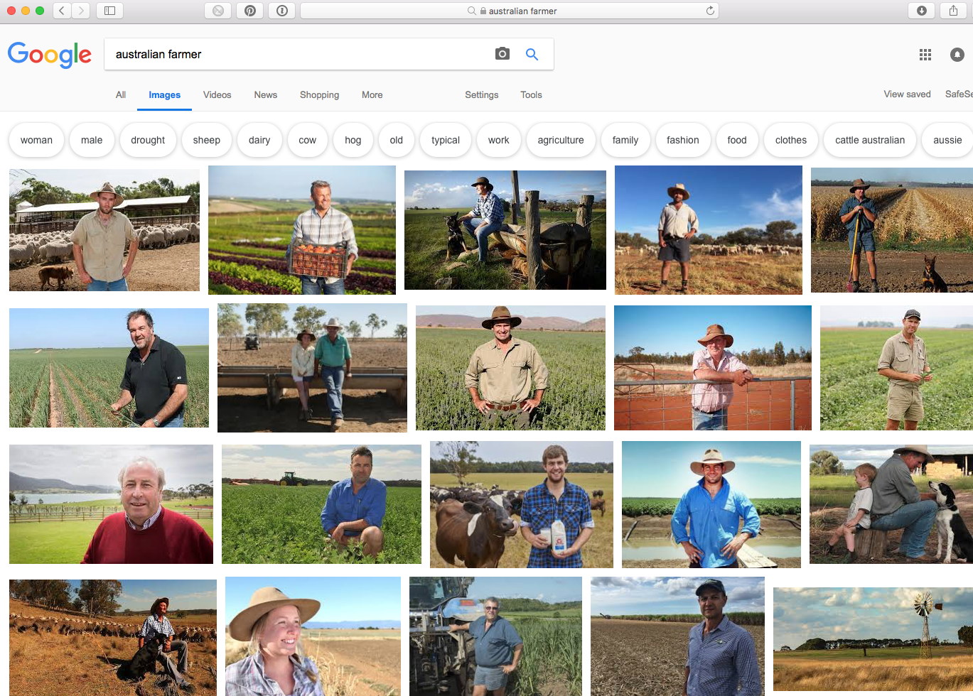 "A powerful visual demonstration of ""invisibility"" and what happens if you type the words ""Australian Farmer"" into Google in 2018 - the majority of images representing men. This slide was taken from a previous presentation by Catherine Forge (Museums Victoria, Invisible Farmer Project)."