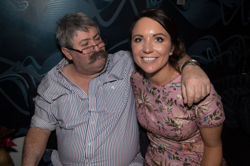 Alex and her dad at her 30th birthday (2017). Image supplied: Alex Thomas