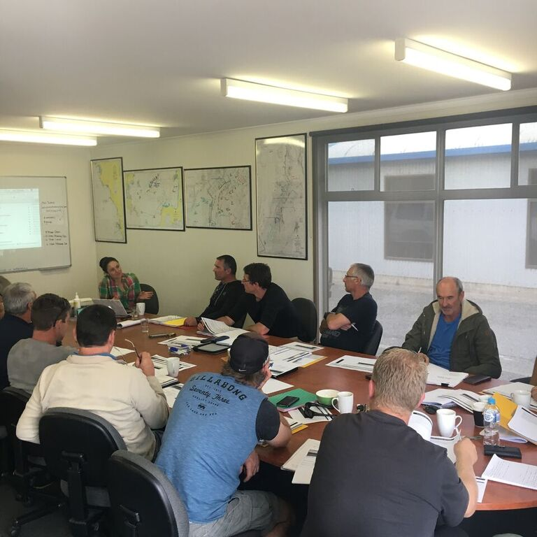 Alex facilitating a workshop for Spencer Gulf & West Coast Prawn Fisherman's Association. (Port Lincoln. SA. 2016). Image supplied: Alex Thomas