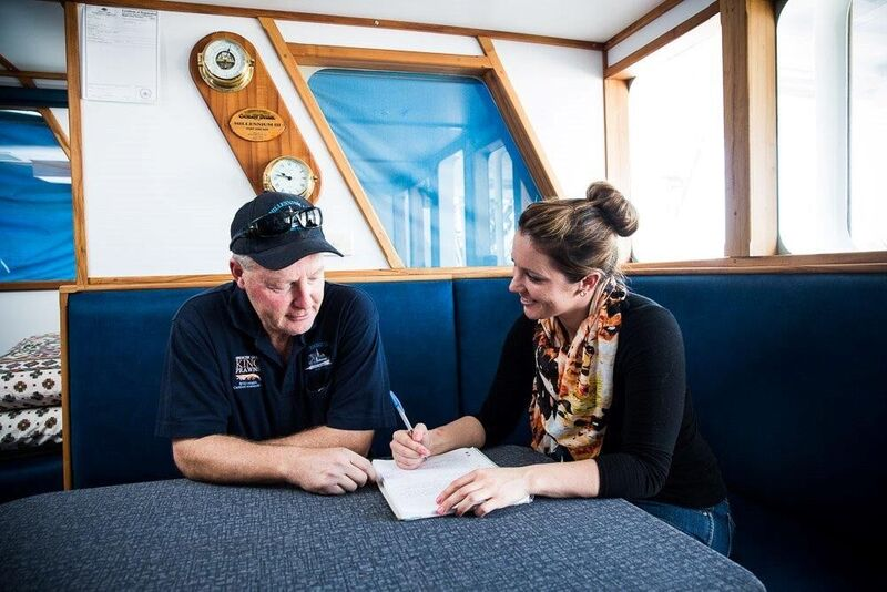 Alex with Greg Palmer, a prawn fisher, (On board the Millennium III. Port Lincoln (SA, 2014). Image supplied: Alex Thomas