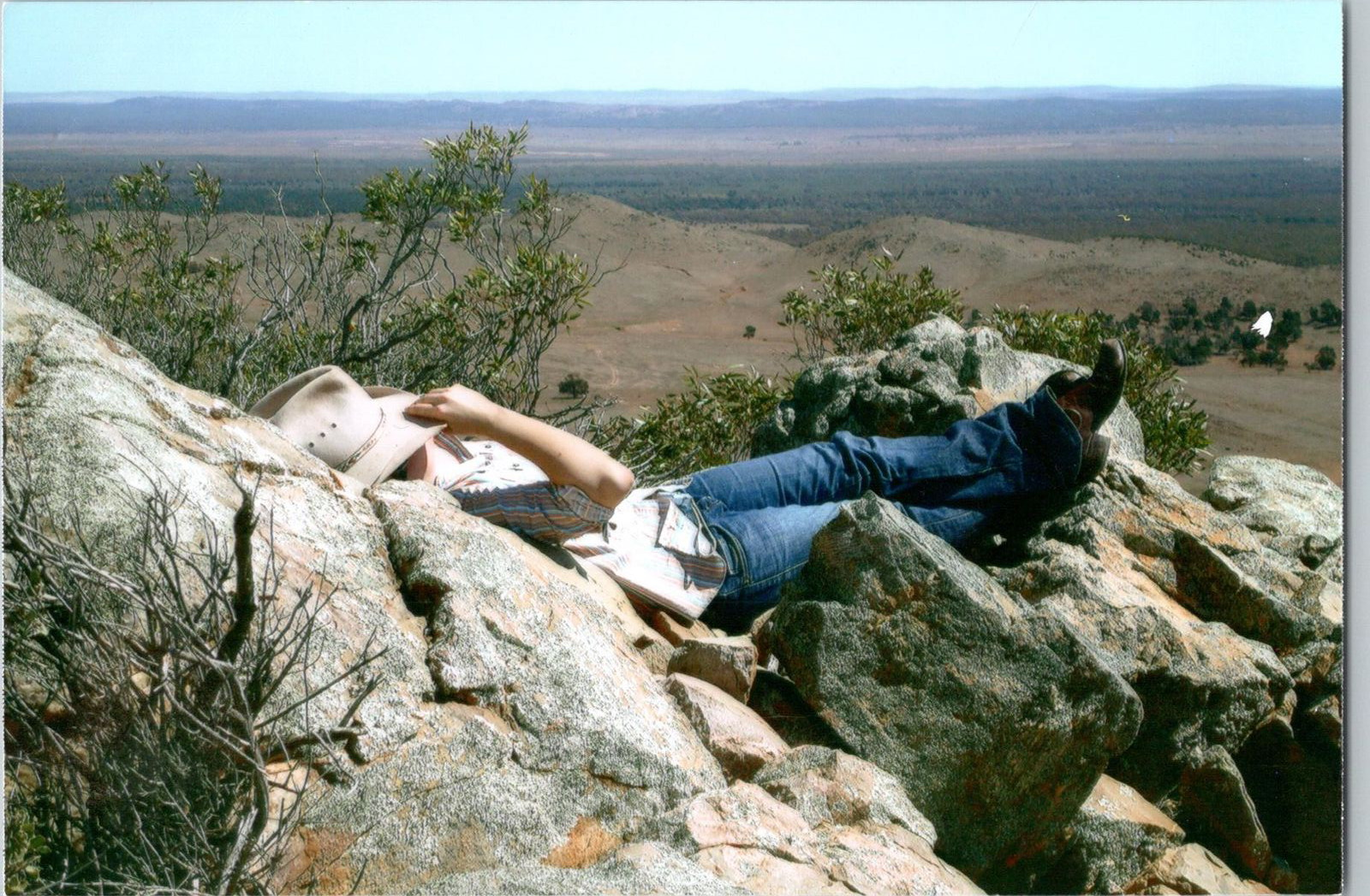 Alex in her favourite spot (Porcupine Range, Parnaroo Station, SA. 2008). Image supplied: Alex Thomas