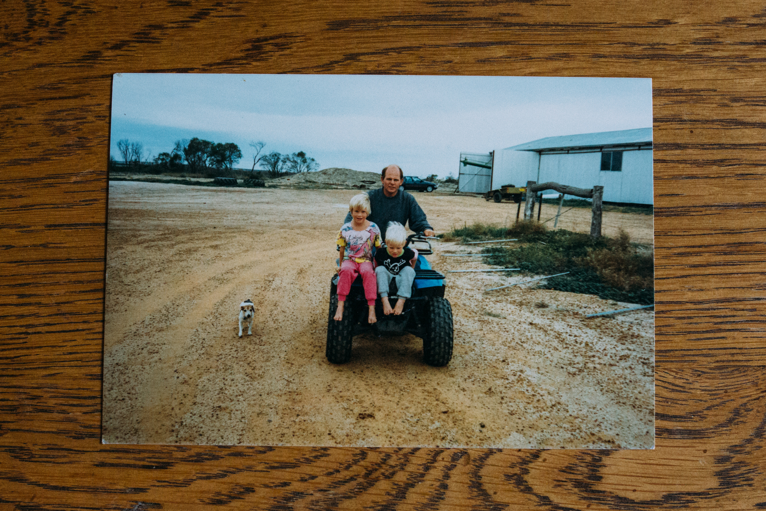 Sally's husband Peter, daughter Kathy and son David on their farm in Wialki (Western Australia) in 1987. I had asked Sally for some photos of herself during these years, but she wrote on the back of the photo: 'no photos of me as I was always the camera man.' Image: supplied by Sally Hall.