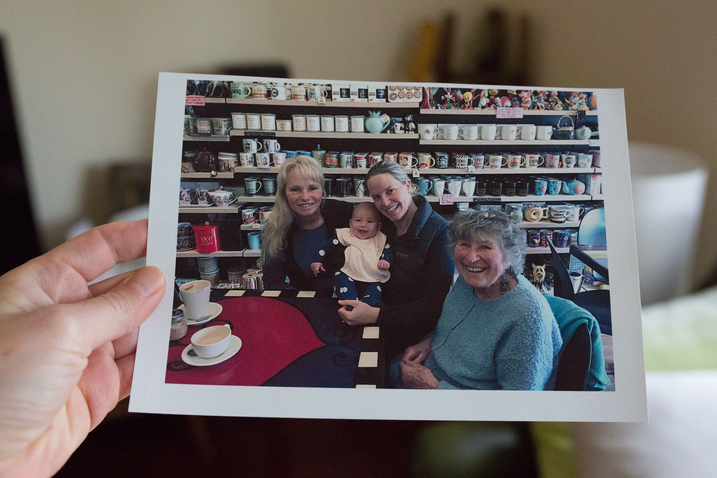 Sally spending some time with family - her mother Rita Baldwin, daughter Kathy and granddaughter Ella-Rose - at the Bright Lolly Shop, 2018, Image: supplied by Sally Hall.