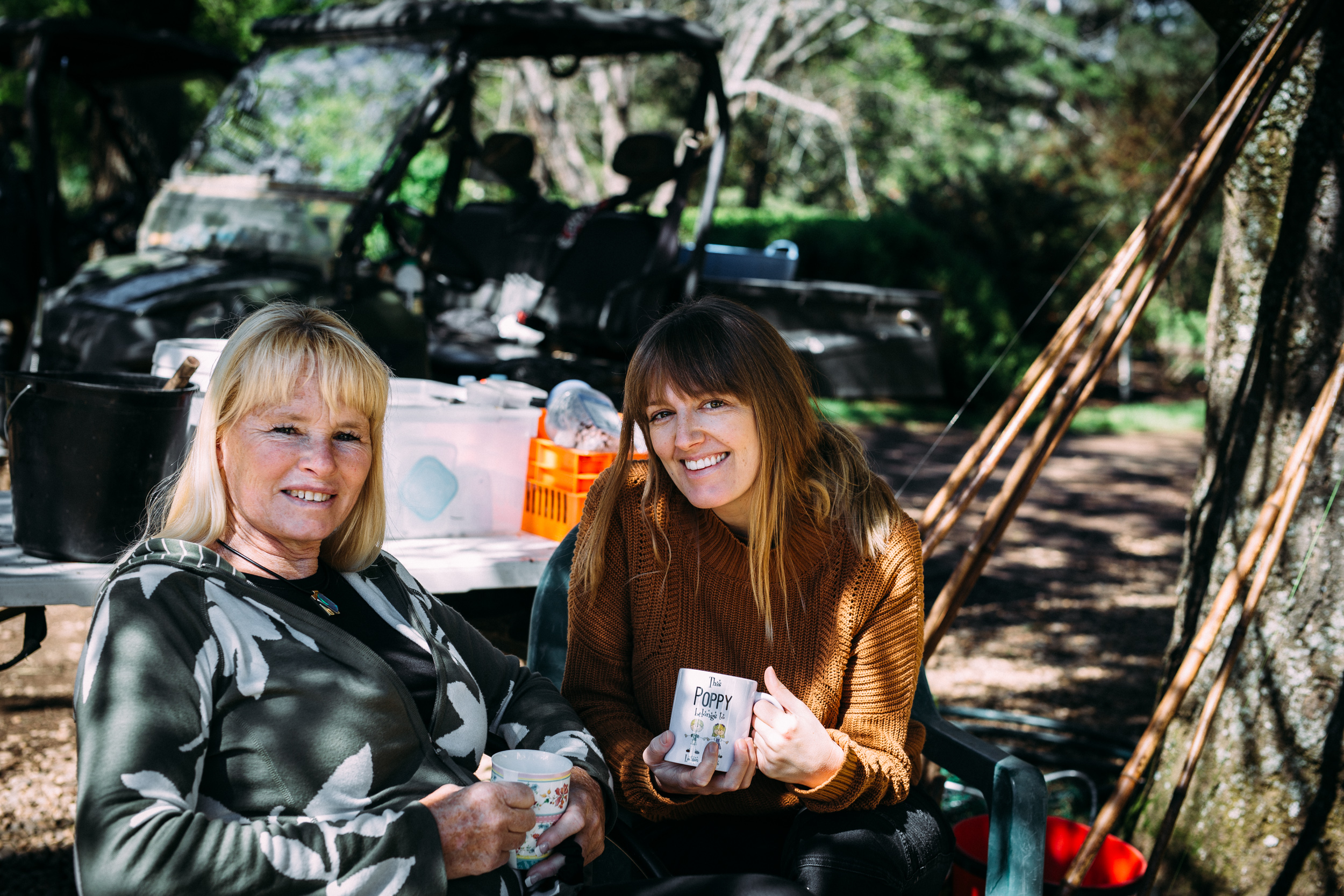 Sally Hall reuniting with Catherine Forge in 2018, Mountain Fresh Trout and Salmon Farm, Harrietville (Victoria), 2018, Photographer: Fiona McLennan.