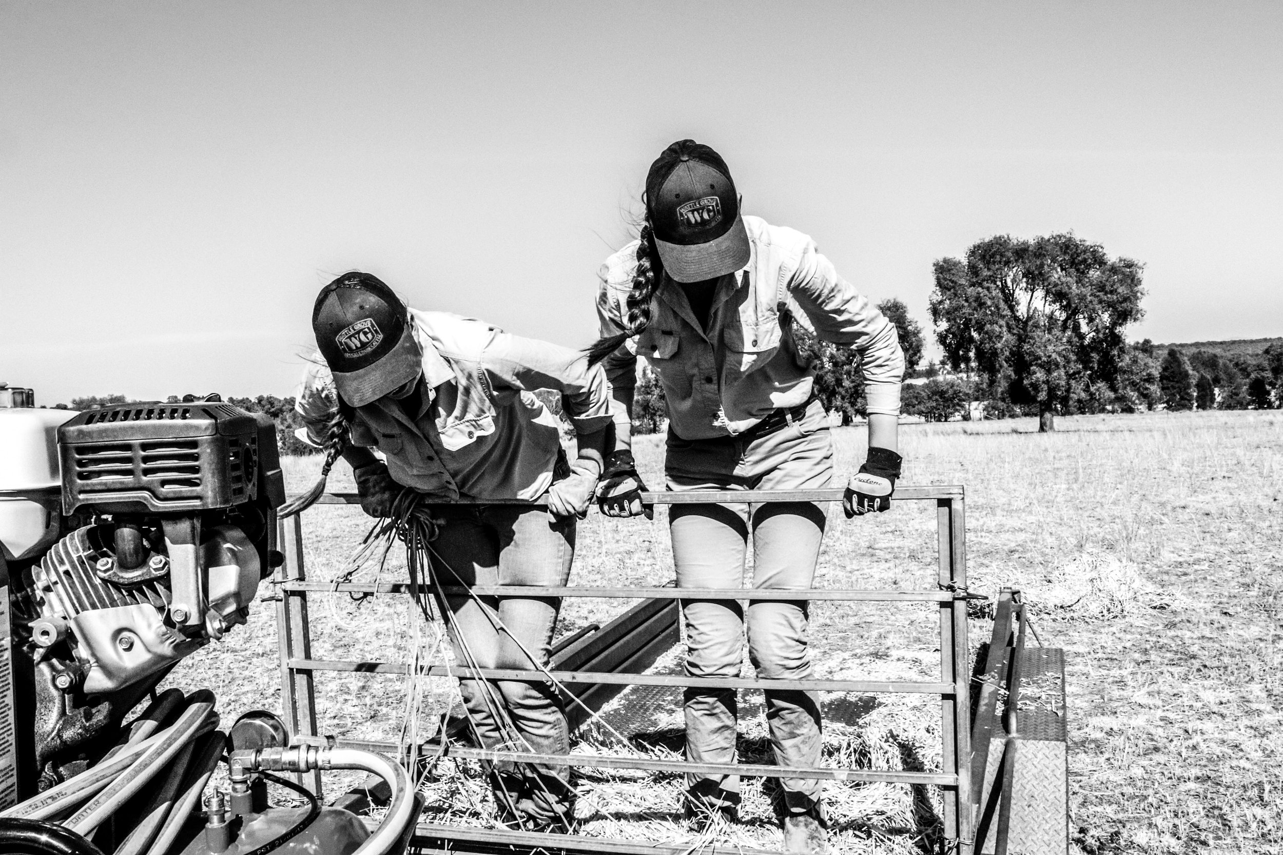 'She was powerful'. Image and quote via Benita Woodley's Instagram,  @_girlbehindthecamera_  This image depicts two of Benita's sisters at work on the family farm.