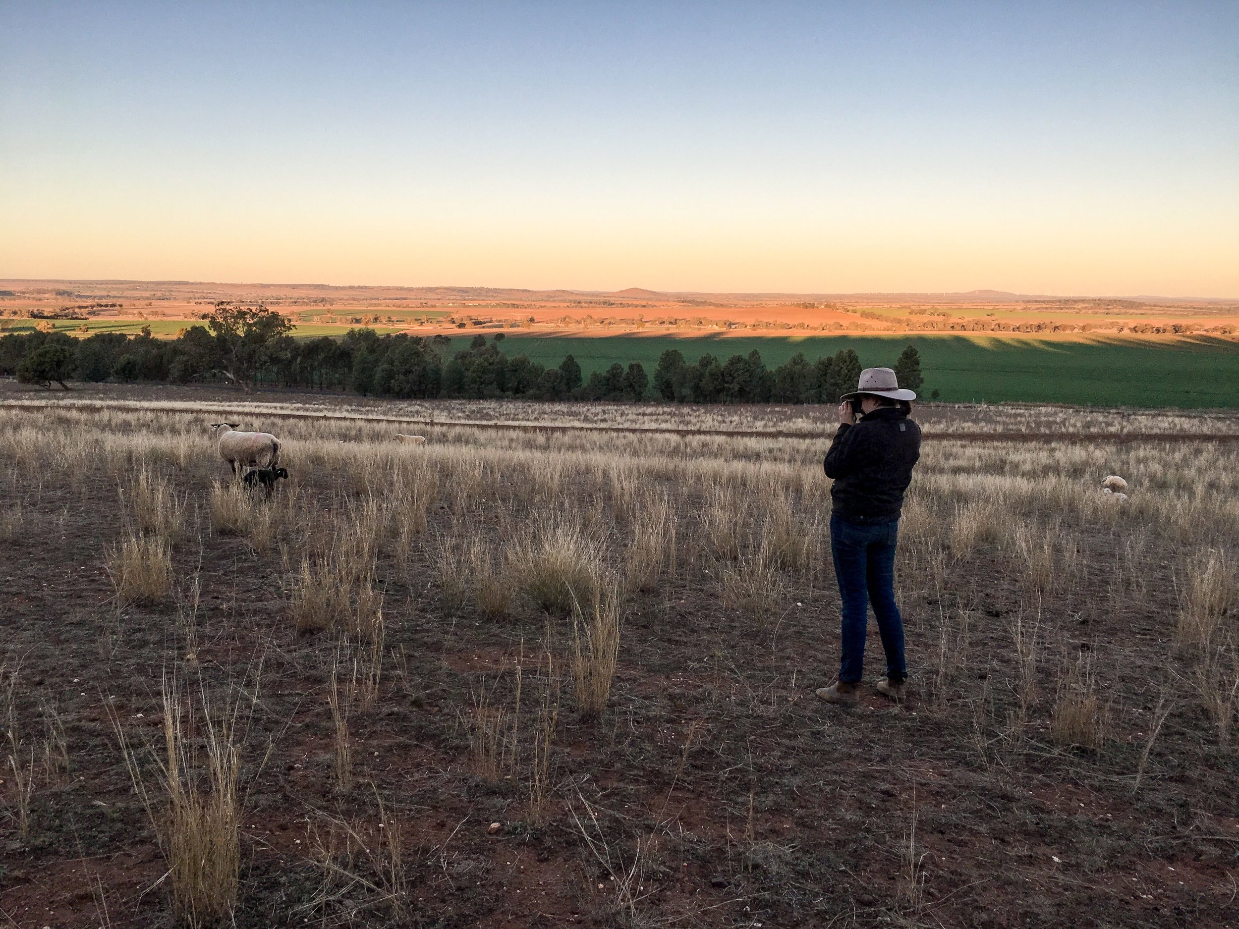 Benita taking photographs on her family's property in Wongarbon, New South Wales. Image: Supplied.