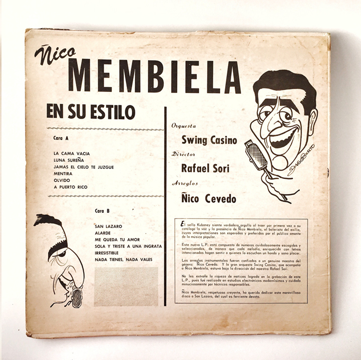 Ñico Membiela, Canta a San Lazaro, 1967, back