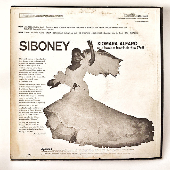 Xiomara Alfaro, Siboney, 1967, back