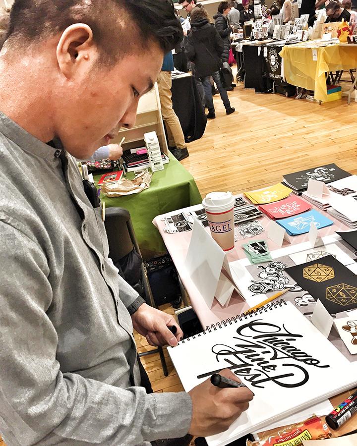 My table partner, Jonathan Jardin - artist, graphic designer and letterer extraordinaire!