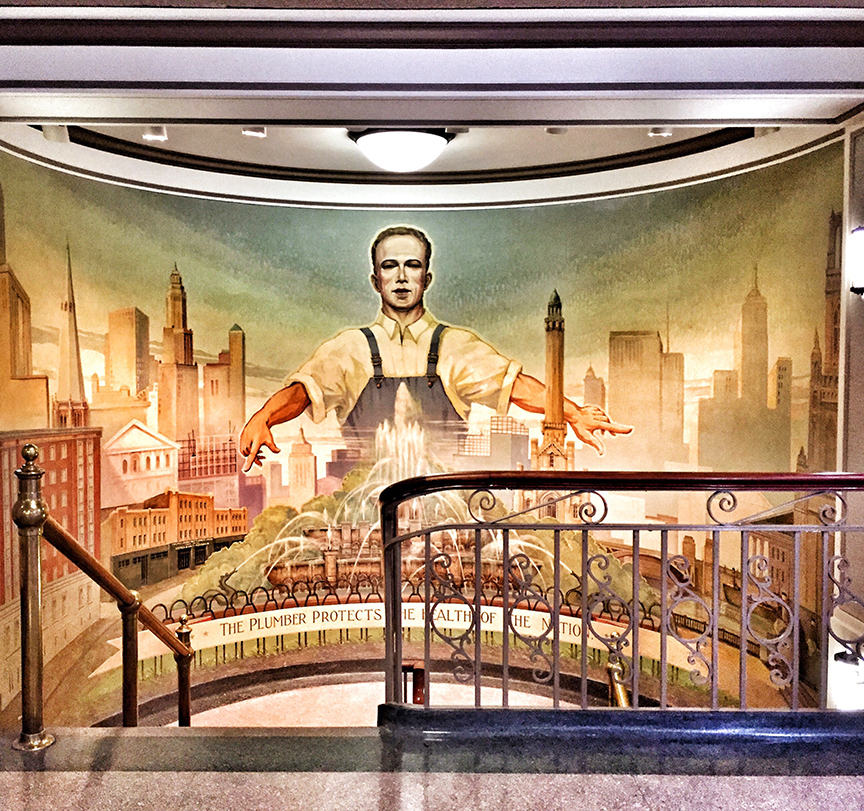 Beautiful Plumber's Hall on the West Side of Chicago; here is a cool mural from the 1920's.