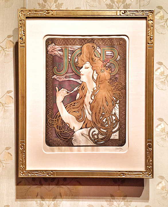 Mucha is SUPER FAMOUS for his Job Rolling Papers images ... the perfect merge of fine art and advertising! This is his classic Art Nouveau, elaborate, organic style ... the flowing hair & smoke emitting from her blunt. c. 1896.