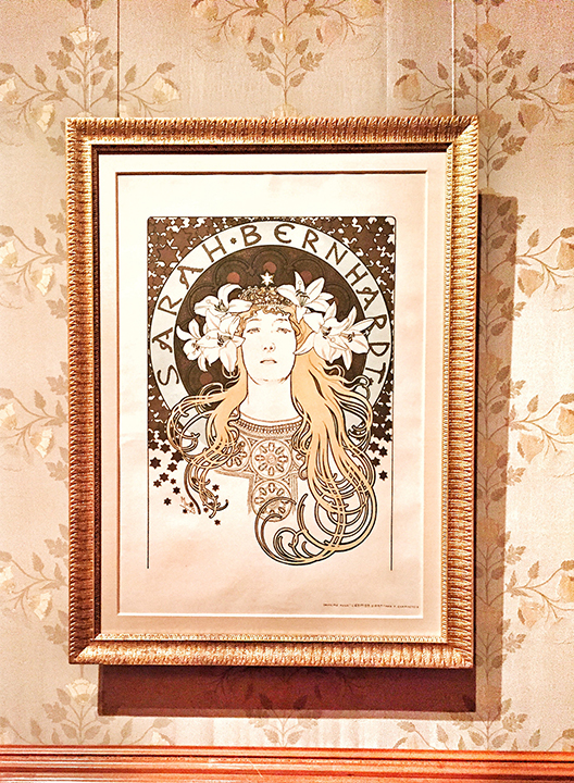 "Mucha, Sarah Bernhardt (for ""La Plume""), color lithograph, 1896. This image had dual-purpose: when it had text - it was a poster-sized publication; sans-text, it was sold as a poster by art dealers. Nice! By the way, in 1896, Ms. Bernhardt was 52 years old, yet Mucha portrayed her as MUCH younger. There's no better thing as flattery, my friends."