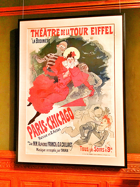 Probably my favorite Cheret, for sentimental reasons, obviously. 'Paris-Chicago', color lithograph, 1893. There was a theater revue held at the Eiffel Tower during the 1889 Exposition. Dynamic figures set on an angle, with a dramatic burst of red and that is carried throughout with the clown's makeup, the woman's bow, her lipstick, her opera gloves, parasol, the maids hair and lip-color and of course, the typography. I love how he used the cool colors to recede and create spatial relationships.