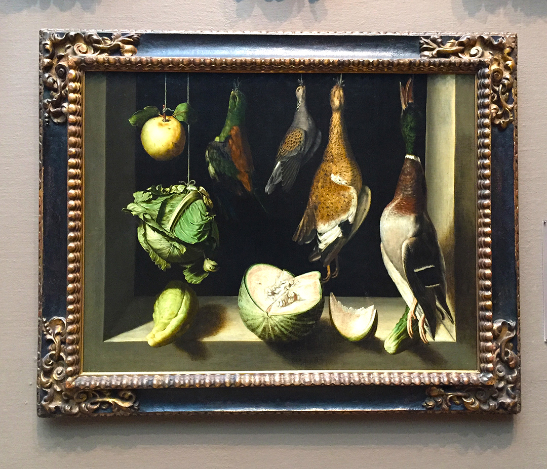 Still Life with Game Fowl, Juan Sanchez Cotan, 1600/03, oil on canvas. The gorgeous green of the cabbage and the rest of the vegetables; also, the the green feathered head of the duck. Stunning painting.