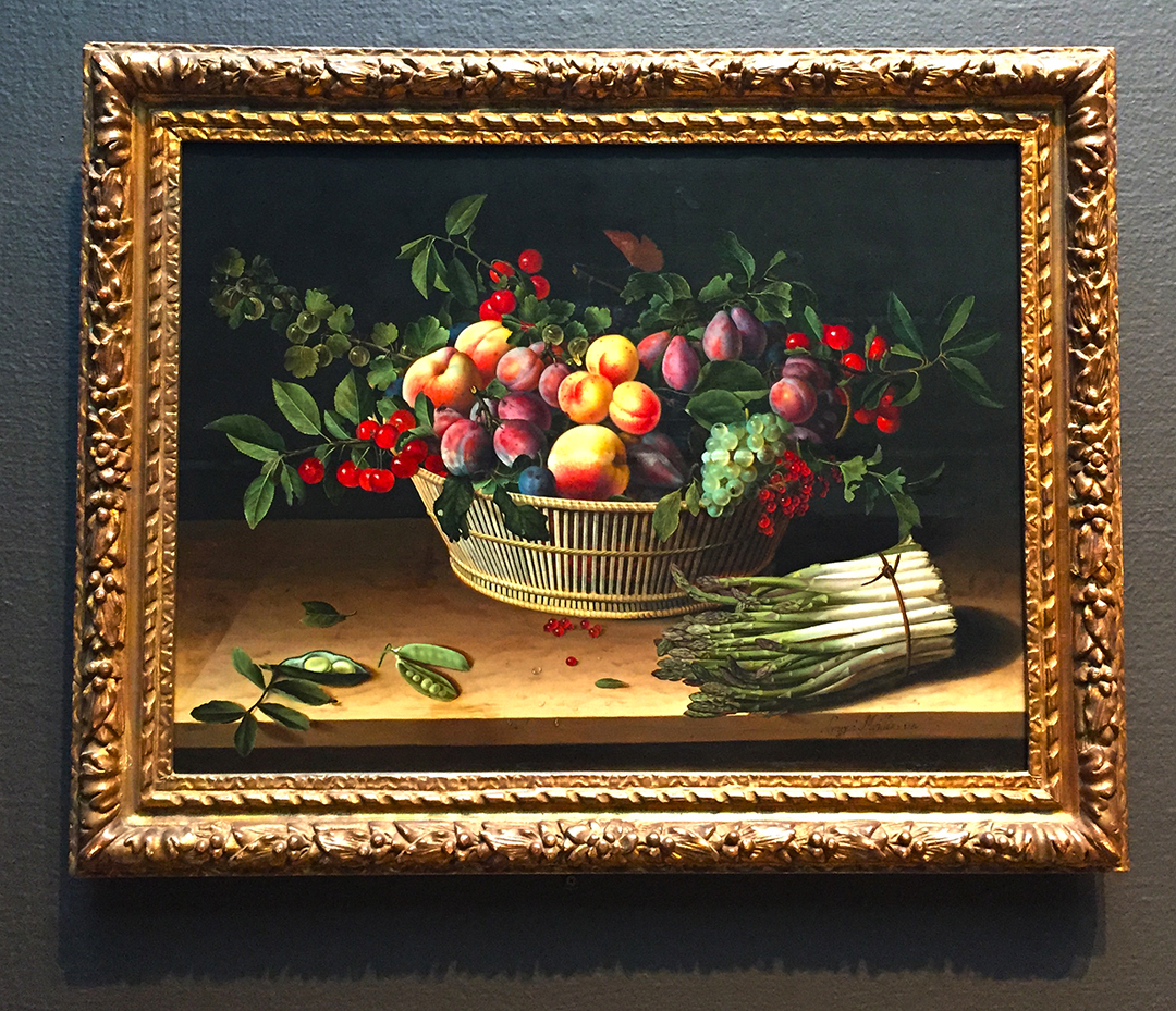 Still Life with a Basket of Fruit and a Bunch of Asparagus, Louise Moillon, 1630, Oil on panel.