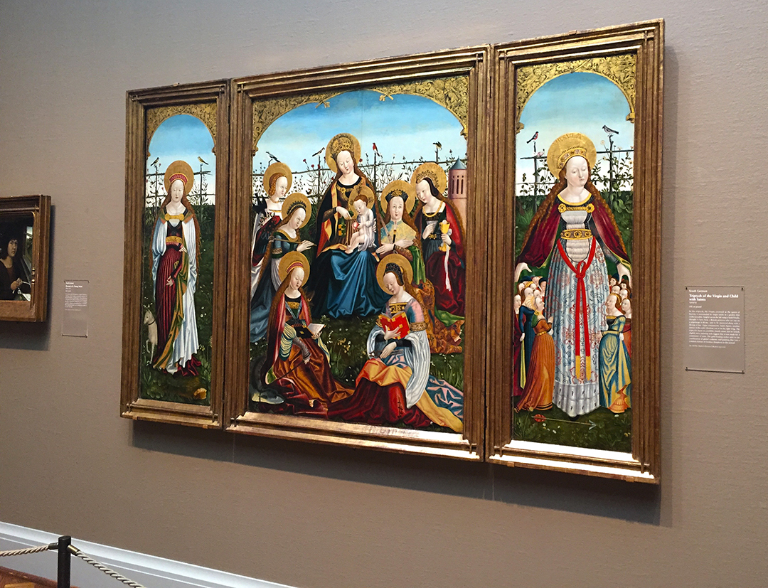 """Triptych of the Virgin and Child with Saints, no artist noted, but it is South German, 1505/15. From the AIC placard: """"In this triptych, the Virgin, crowned as the queen of heaven, is surrounded by virgin saints in a garden that evokes paradise."""" The color green in Gothic Art symbolizes peace, Spring, spiritual renewal, and rebirth."""