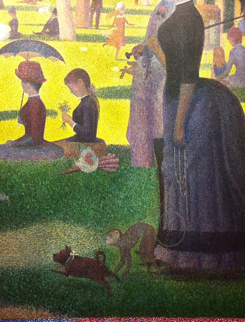 Detail of A Sunday on La Grande Jatte – 1884. The woman holding a leash with a monkey was considering a sex worker back in the day, but that's art history lore. Who know, really? Only the monkey.