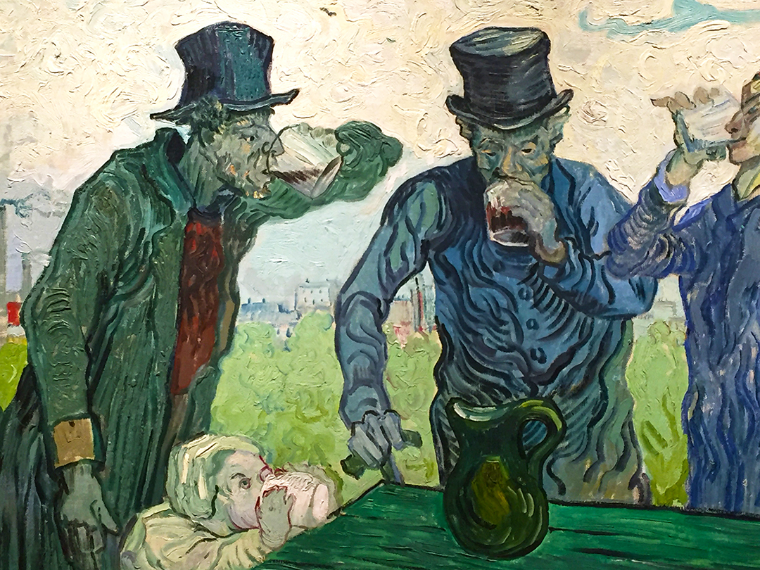 Detail of The Drinkers. The man on the left is almost entirely green, save his shirt and lower part of his sleeve. Please note that the child also drinking from the table, is seriously downing some pure white milk, thankfully.