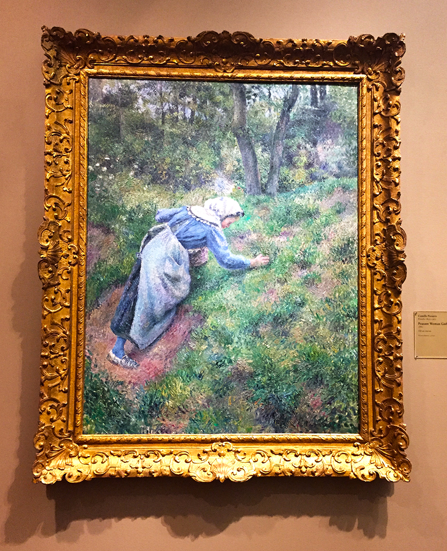 Peasant Woman Gathering Grass, 1881, Camille Pissarro. Oil on canvas.