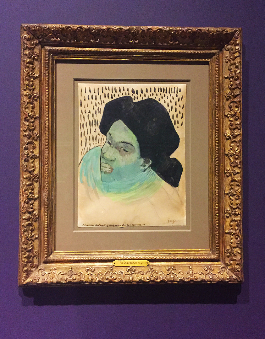 Head of a Tahitian Woman, 1892-93 with later additions in 1894/95. Paul Gauguin. Pen and brush and black ink, with GREEN, blue, yellow and white gouache, over pen and brown ink, and touches of graphite, on parchment.