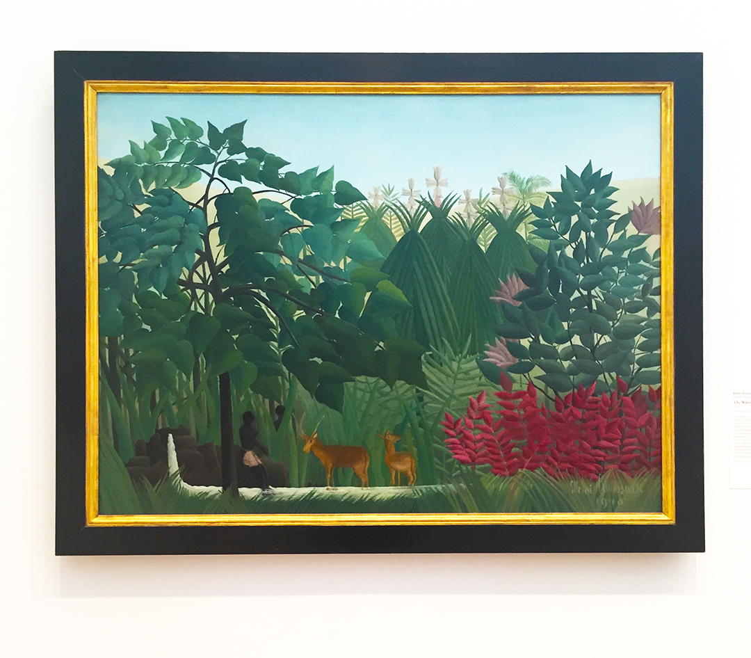 The Waterfall, 1910. Henri Rousseau. Oil on canvas. Rousseau was a self-taught painter and you'd think he lived in a forest, because most of his painting are about a lush, green environment. The truth is, he never stepped foot outside of Paris and he got his ideas for his paintings from visiting gardens and the Paris zoo.