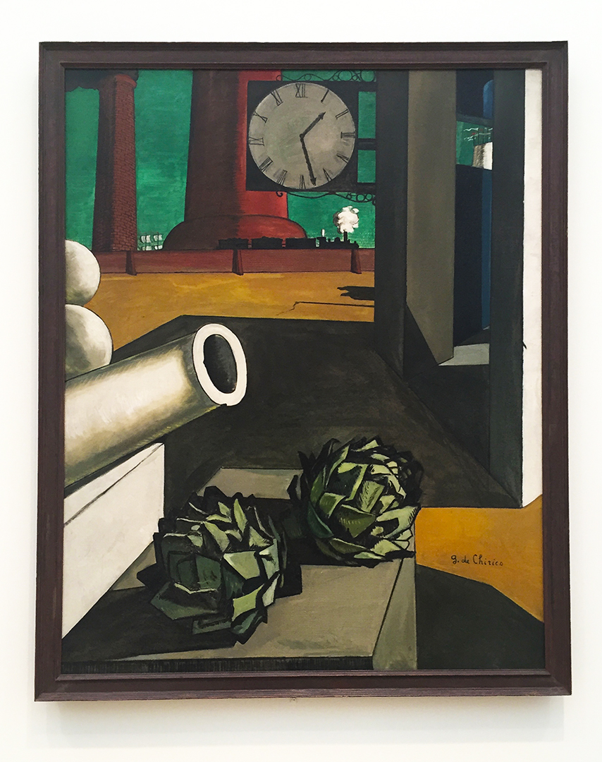 The Philosopher's Conquest, 1913-14. Giorgio de Chirico. Oil on canvas. Trippy and weird painting, so the green sky in the background works perfectly. Are those artichokes?