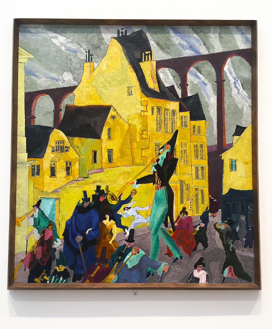 Carnival in Arcueil, 1911. Lyonel Feininger. Oil on canvas. The main figure is dressed smartly in green trousers and frilly shirt. And that green is carried throughout the painting with little dabs here and there ... beautiful piece.