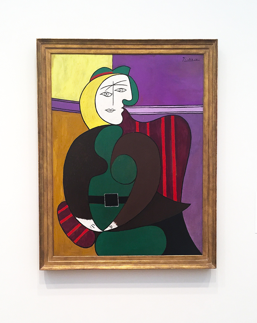 The Red Armchair, 1931. Pable Picasso. Oil and Ripolin on panel. Of course I had to include a Picasso! Beautiful portrait of his 'baby-mama', Marie-Therese Walther ... she inspired him so much. The line-work is precise here and it's carefully painted ... she wears very natural colors like the umber and green. There's tenderness ... a loving treatment in this portrait and it shows that Picasso was definitely in love with this girl.