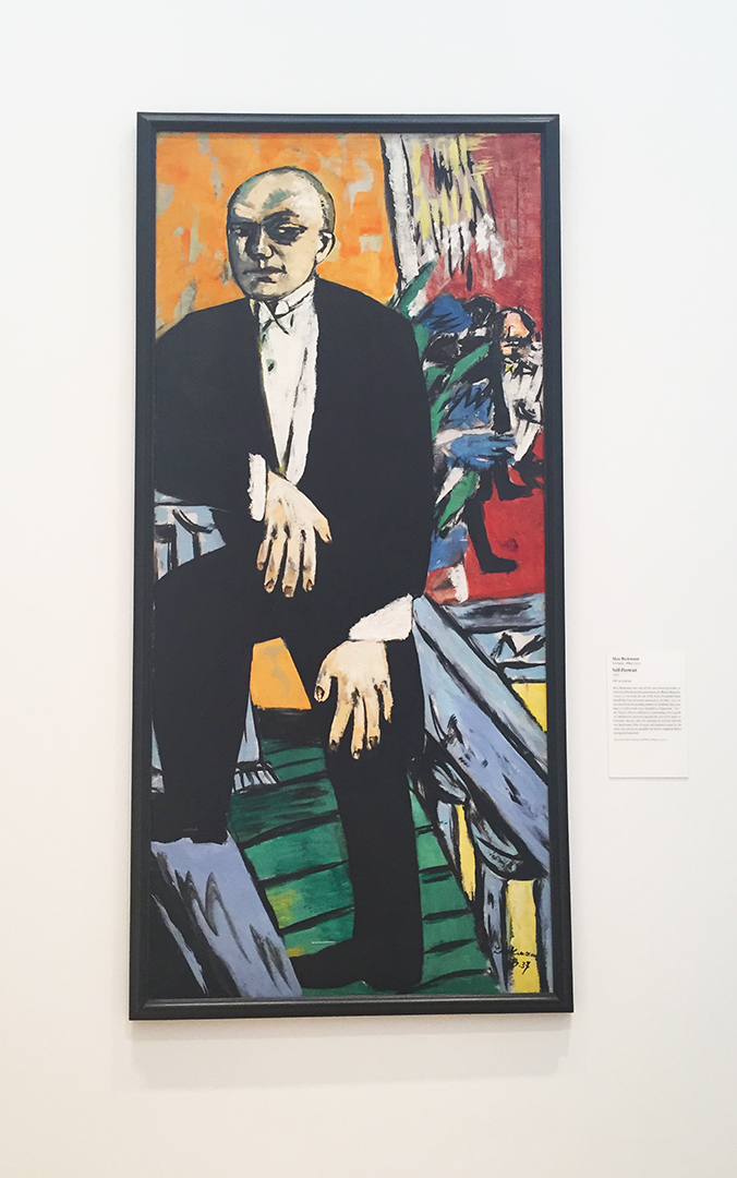 Self-Portrait, 1937. Max Beckmann. Oil on canvas. Green at the top and bottom ...big & bold strokes.