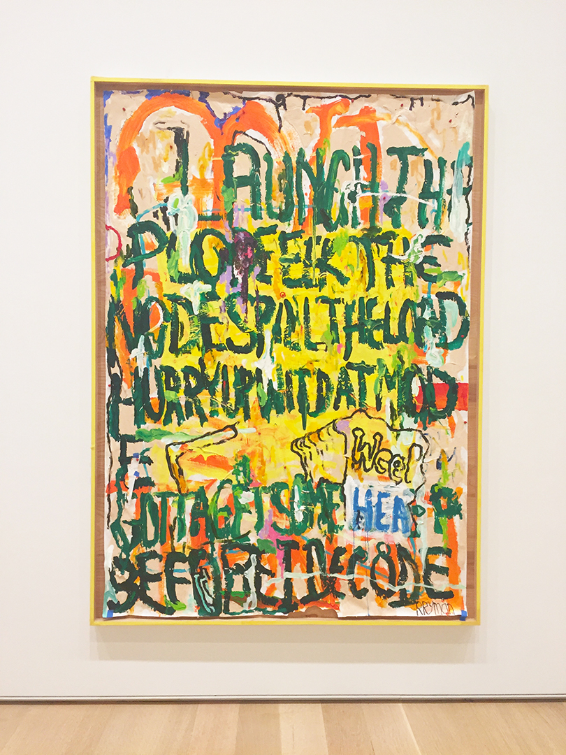 """Finnish Painting, 2015. William Pope.L. Oil, acrylic, flash paint, marker, Bic pen, collage, thumbtacks, and tape on torn paper.  The AIC placard reads: """"William Pope.L is known for provocative, physical performances as well as for text-based drawings and paintings. The title  Finnish Painting  proposes a strangely specific - yet also enigmatic - evocation of national identity and offers a play of words by referencing the imperative to ' finish painting .""""  This resides across from the Liz taylor painting and I think it's perfect."""