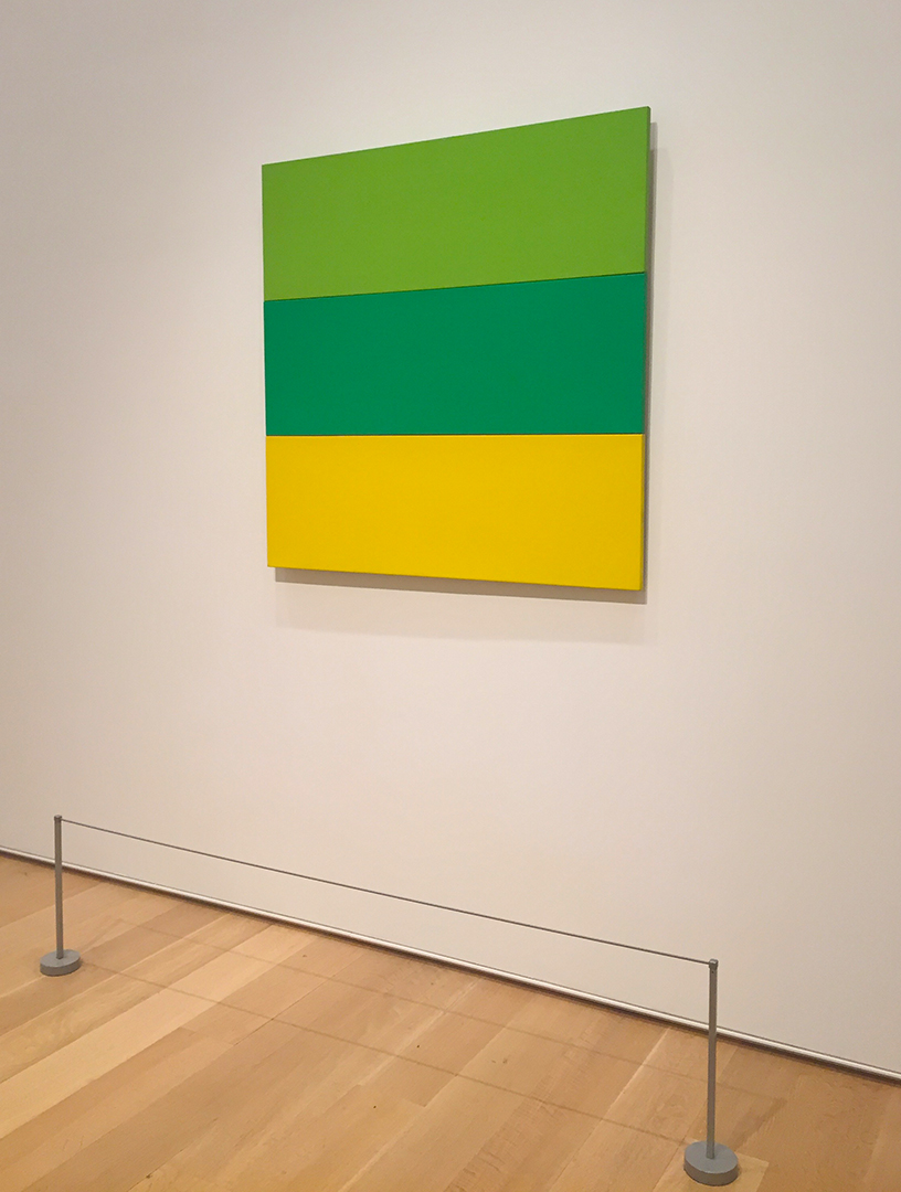 Train Landscape, 1953. Ellsworth Kelly. Oil on canvas; three joined panels. This is as minimal and simplified as you can get - his inspiration was the fields of lettuce, spinach and mustard zipping past his train window in France. THIS IS BRILLIANT.