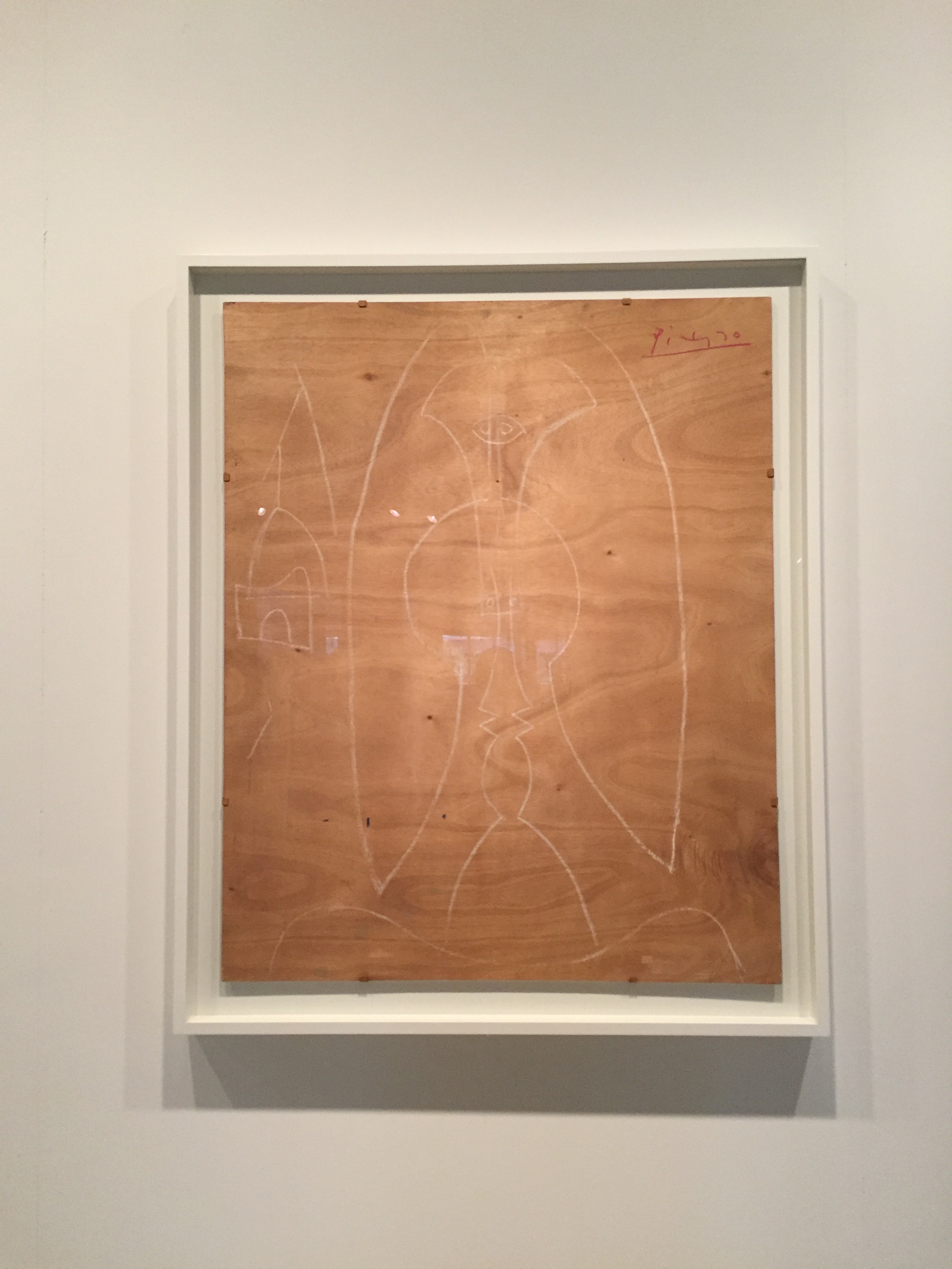 Fascinating Picasso sketch on plywood, located in the Art Institute of Chicago.