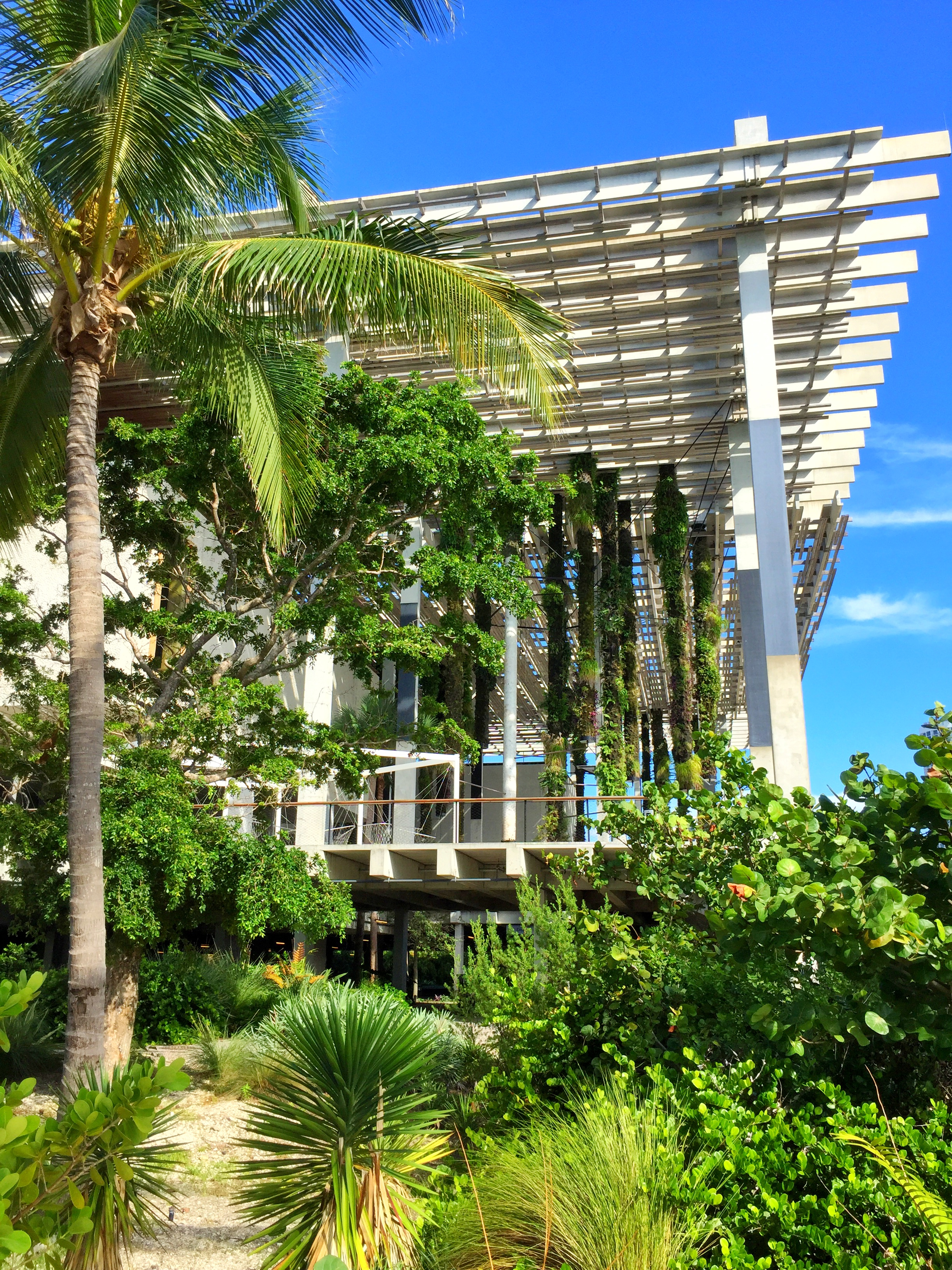 The exterior of the Perez Art Museum of Miami-Dade County, located at 1103 Biscayne Boulevard, Miami, FL 33132, designed by architectural firm, Herzog & de Meuron.