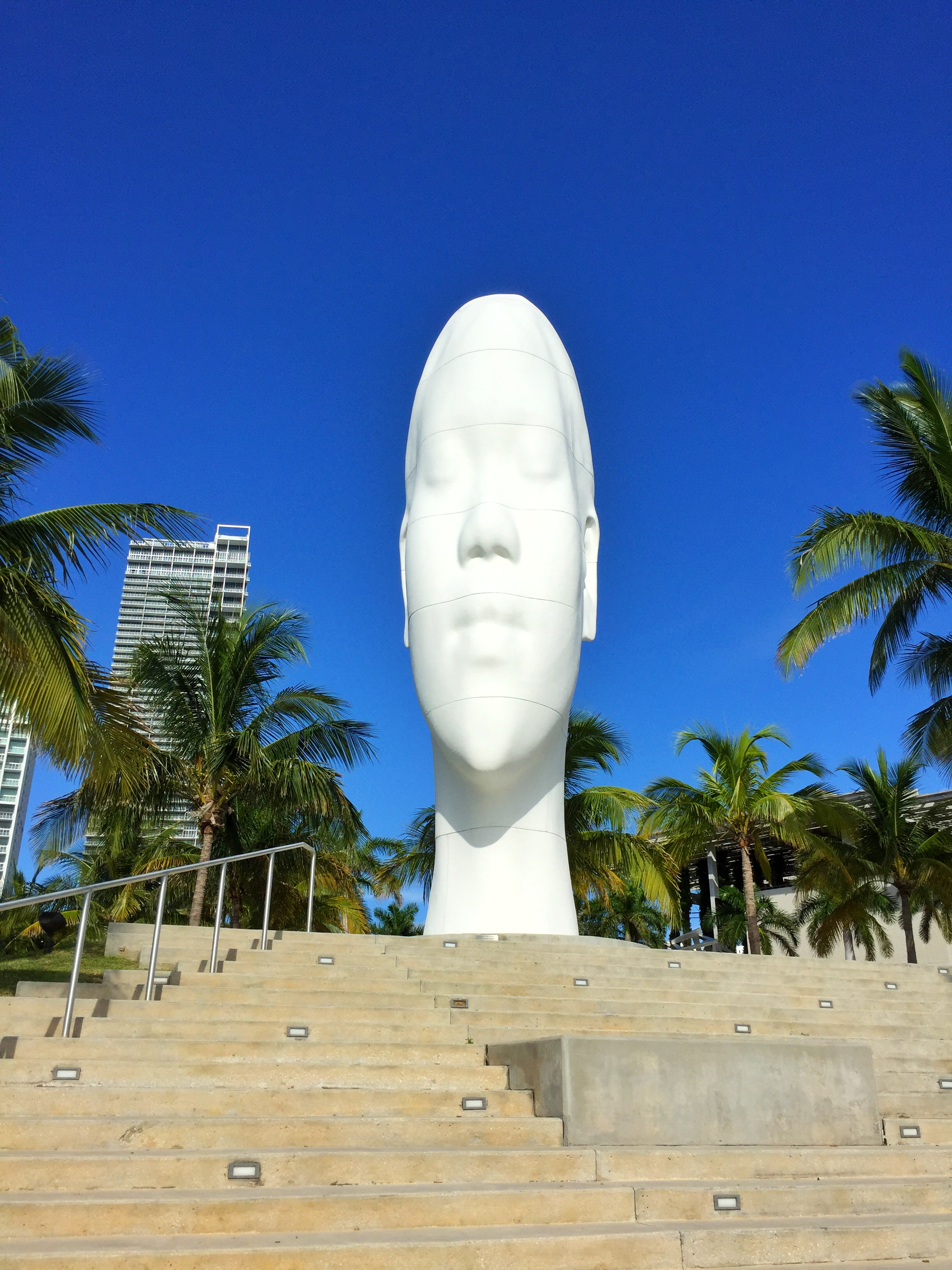 """Jaume Plensa's """"Looking Into My Dream, Awilda', faces Biscayne Bay on the PAMM grounds."""