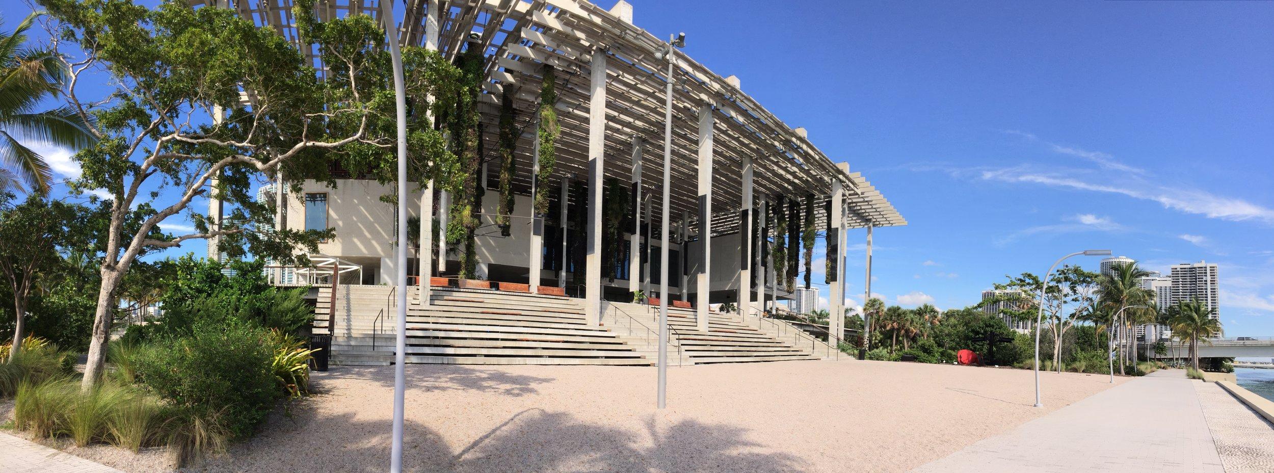 Beautiful PAMM's terrace facing east towards Miami Beach.