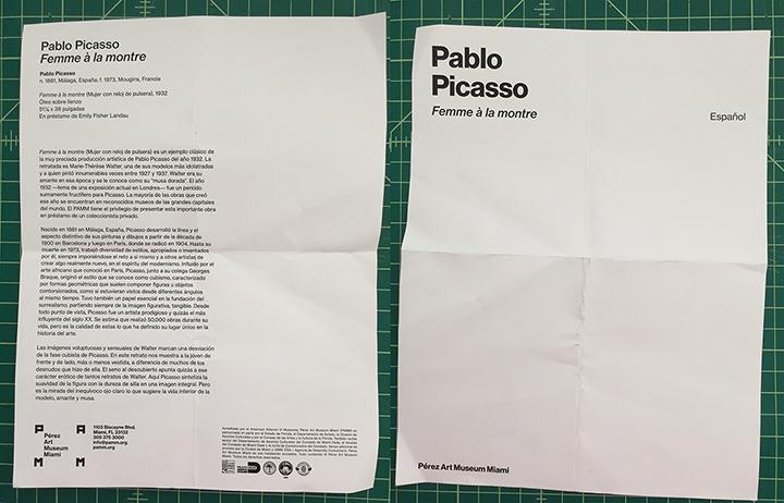 The PAMM flyer for Picasso's Femme á la montre, 2018.