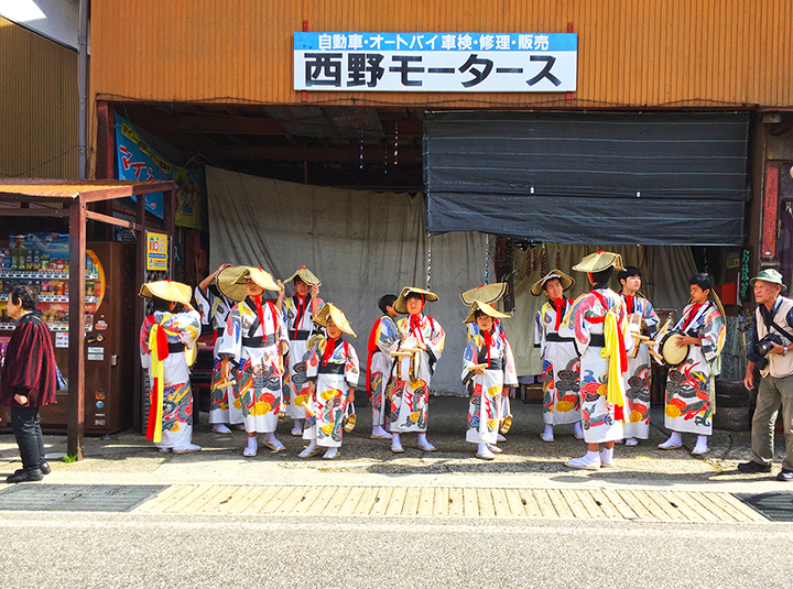 Village locals getting ready for a store opening good luck parade in Shirakawa-Go, in Gifu Prefecture, a UNESCO World Heritage Site since 1995.