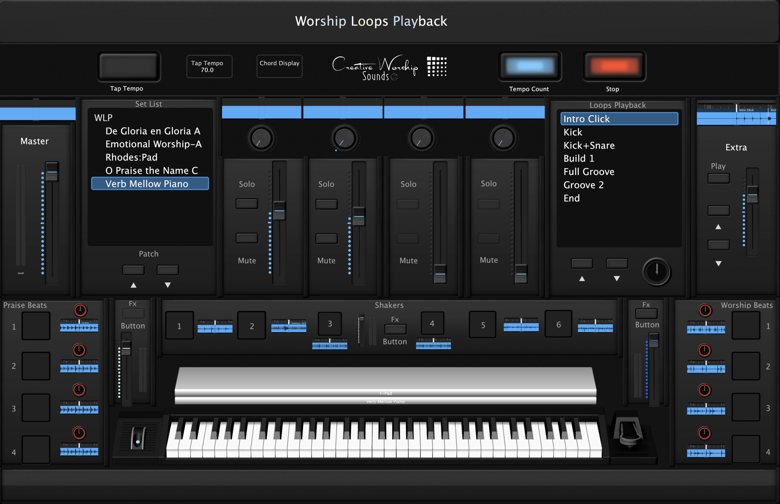 Worship Loops Playback-The Best Mainstage 3 Concert that implements Loops playback in real time.